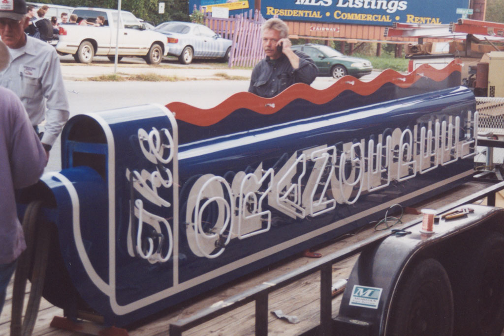 the Peel neon sign on the trailer ready to go up